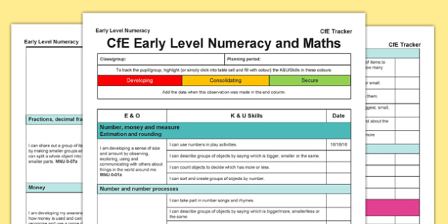 Numeracy and Mathematics CfE Early Level Tracker - CfE, planning, tracking, numeracy, I can, Early