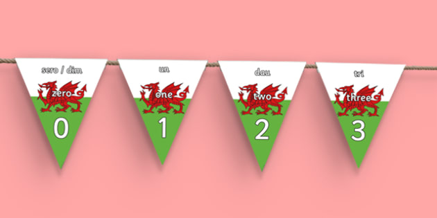 0-30 Number Line Bunting Bilingual - Number Line Bunting, Welsh Second Language display, Counting.