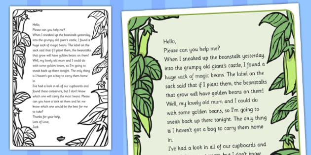 Jack and the Beanstalk Capacity Activity Letter - activity letter