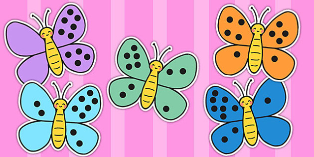 Number Bonds to Ten on Butterflies - number bonds, butterflies