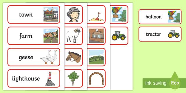 The Train Ride Word Cards - The Train Ride, June Crebbin, journey, transport, resources, rhyme, rhythm, tractor, story, story book, story book resources, story sequencing, story resources, Word cards, Word Card, flashcard, flashcards,