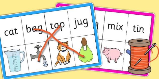CVC Words Matching Threading Cards - threading, cards, cvc, match