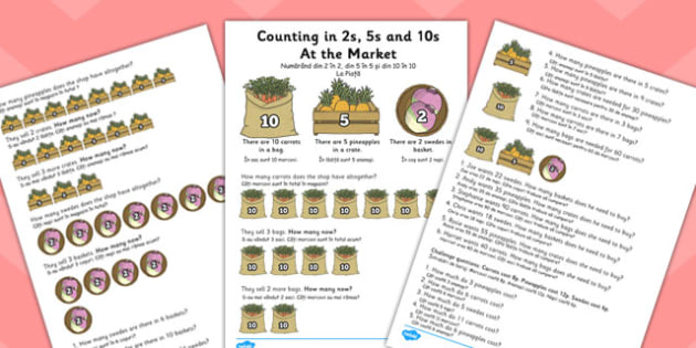 Counting in 2s, 5s and 10s Multiplication Worksheet Romanian Translation