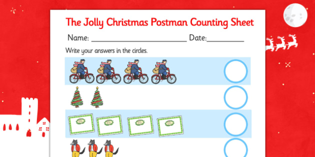 Counting Sheet to Support Teaching on The Jolly Christmas Postman - the jolly christmas postman, counting sheets, the jolly postman counting sheet, themed counting sheets