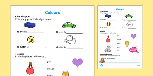 Colours Activity Sheet, worksheet