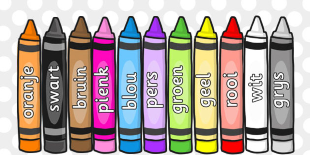 Afrikaans Colour Words On Crayons - afrikaans, colour, words
