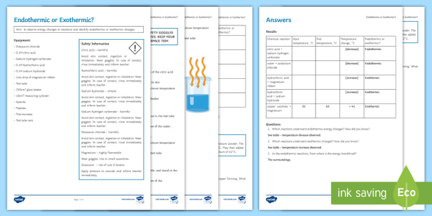Endothermic or Exothermic Investigation Instruction Sheet Print-Out - Investigation Help Sheet, science practical, method, instructions, endothermic, exothermic, energy,