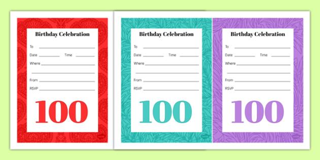 100th Birthday Party Invitations - 100th birthday party, 100th birthday, birthday party, invitations
