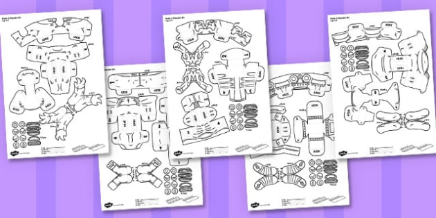 Make A 3D Monster Activity - paper,folding,fold,up,toy,toys,activity,class,colour,color,in,build,display.print,out,cut,printable,fun,model,stand,cube,role,play,playing,prop,props,drama,display,halloween,monster