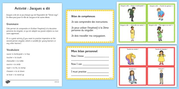 Activité: Jacques a dit Picture Cards French - french, simon says, picture cards, picture, cards