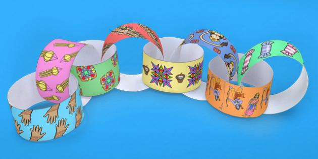Diwali Themed Paper Chain - hinduism, hindu, crafts, art, DT