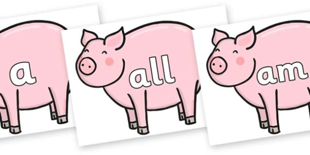 Foundation Stage 2 Keywords on Chinese New Year Pig - FS2, CLL, keywords, Communication language and literacy,  Display, Key words, high frequency words, foundation stage literacy, DfES Letters and Sounds, Letters and Sounds, spelling