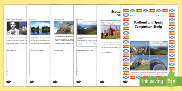 Scotland and Spain Comparison Study Research Booklet - CfE, Comparison Study, people and place, Scotland Spain