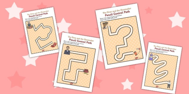 The Elves and the Shoemaker Pencil Control Path Activity Sheets - path