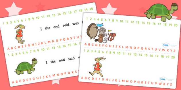 The Tortoise and The Hare Combined Number and Alphabet Strips