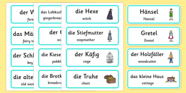 Hansel and Gretel Word Cards German Translation - german, Hansel and Gretel, Brothers Grimm, witch, Hansel, Gretel, gingerbread house, fairytale, traditional tale, woodcutter, forest, story, story sequencing, story resources, Word cards