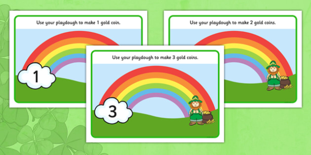 St. Patrick's Day Playdough Mats 1-10 - Fine motor skills, malleable, Ireland, shamrock, leprechaun