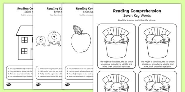 Reading Comprehension Seven Key Words Activity Sheet Pack, worksheet