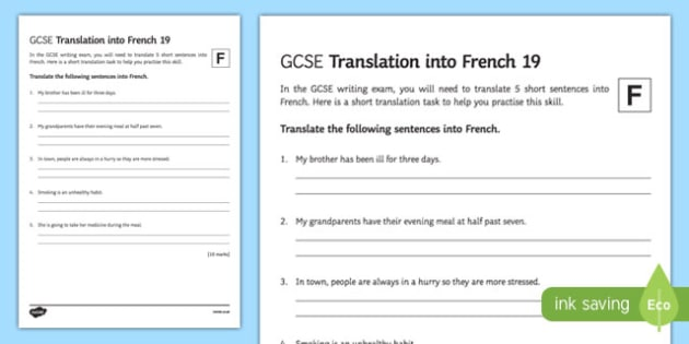 GCSE French: Translation into French - 19 Foundation Tier Activity Sheet, worksheet