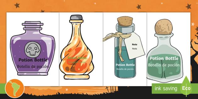 Editable halloween potion bottles us english spanish latin for Halloween medicine bottles