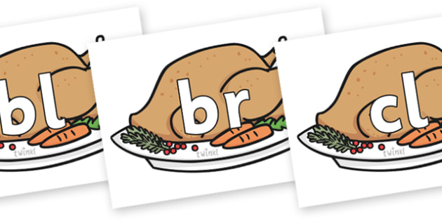Initial Letter Blends on Christmas Turkeys - Initial Letters, initial letter, letter blend, letter blends, consonant, consonants, digraph, trigraph, literacy, alphabet, letters, foundation stage literacy
