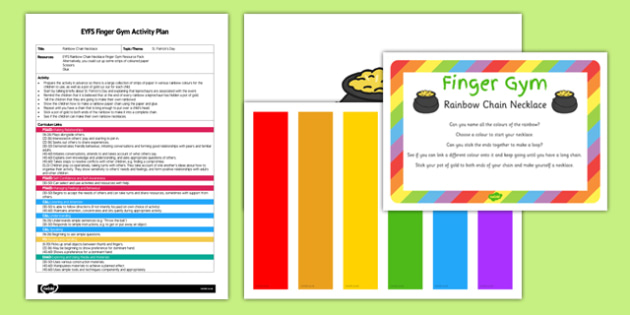 EYFS Rainbow Chain Necklace Finger Gym Plan and Resource Pack - St Patricks day
