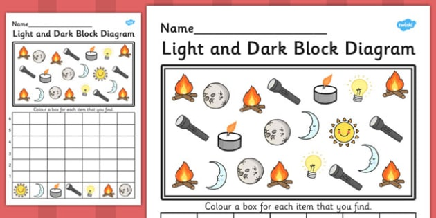 Light and Dark Block Diagram Activity Worksheets - bar graph, light