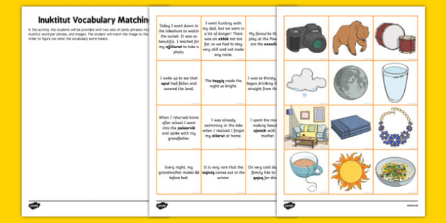 Inuktitut Vocabulary Matching Activity - canada, inuktitut, vocabulary, matching, activity, match