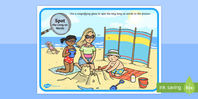 Phase 3 Long oo Words Beach Scene Magnifying Glass Activity Sheet, worksheet