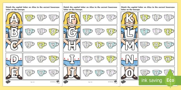 Alice in Wonderland Themed Capital Letter Matching Worksheet