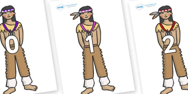 Numbers 0-31 on Native Americans - 0-31, foundation stage numeracy, Number recognition, Number flashcards, counting, number frieze, Display numbers, number posters