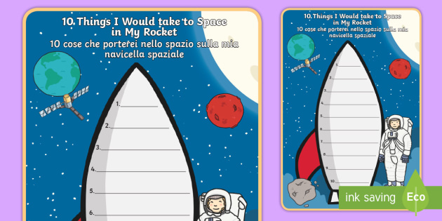 What Would I Take to Space Rocket Writing Frame - English/Italian - What Would I Take to Space Rocket Writing Frame - space, rocket, spce, soace, spcae, writting, EAL