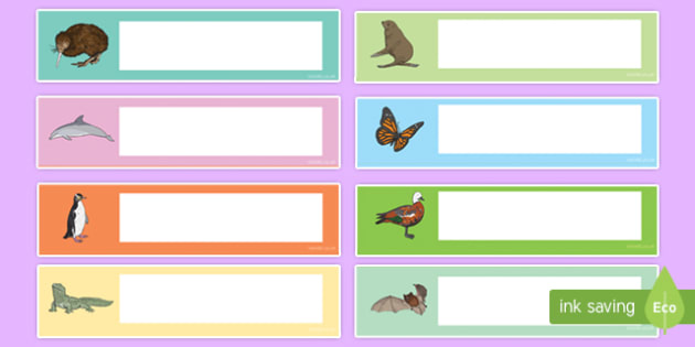 NZ Native Animals Themed Editable Drawer, Peg, Name Labels