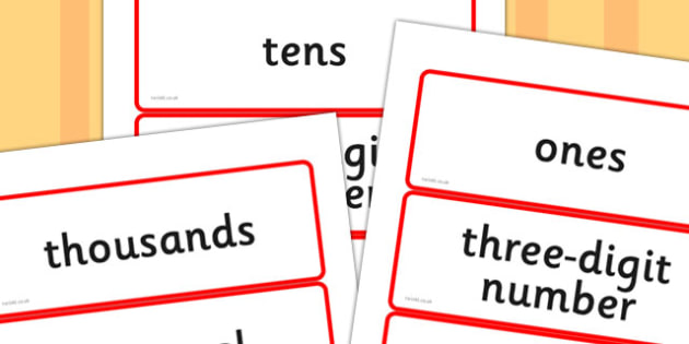 Year Four Numeracy Vocabulary Word Cards - The Number System - word cards, numeracy word cards, numeracy vocabulary, word flash cards, key words, maths