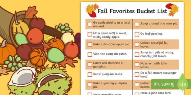 Fall Favorites Bucket List Checklist