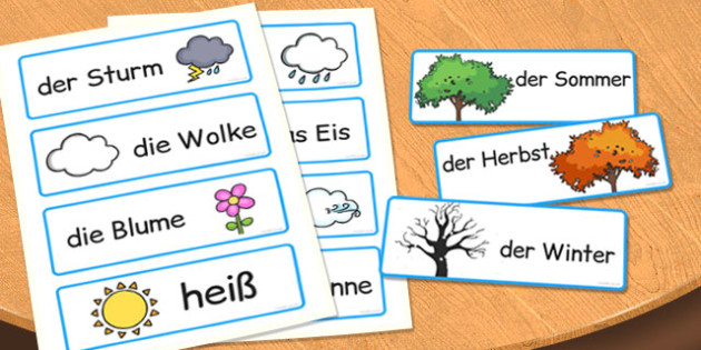 German Season Word Cards - german, season, word cards, cards