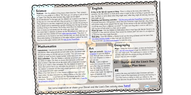 Daniel And The Lions Den Lesson Plan Ideas KS1 - lesson plan, KS1