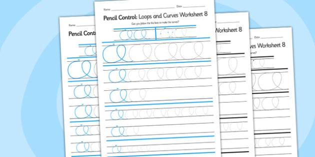 Pencil Control Loops And Curves Worksheet 8 - pencil control