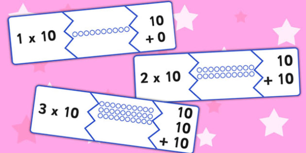 Ten Times Table Matching Puzzle Game - times table, matching