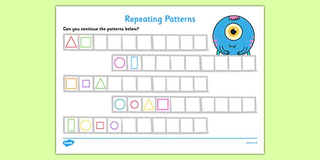 Repeating Pattern Activity Sheets (Shapes) - Repeating patterns, repeat, repeating, shape repeating pattern, shapes, shape, pattern, patterns, numeracy, patterns, shapes, reapeating pattern
