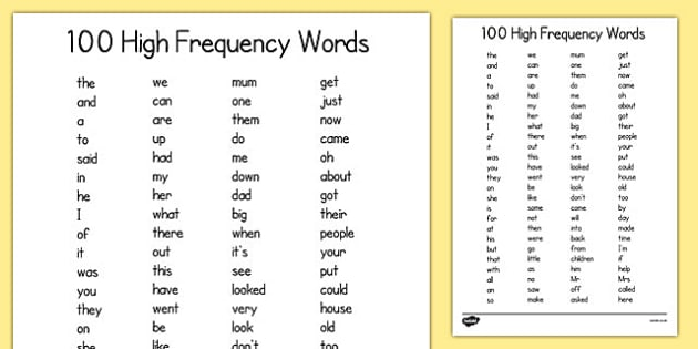 100 High Frequency Words List - Sight Words and HFW for KS1