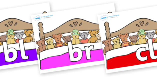 Initial Letter Blends on Ten in a Bed - Initial Letters, initial letter, letter blend, letter blends, consonant, consonants, digraph, trigraph, literacy, alphabet, letters, foundation stage literacy