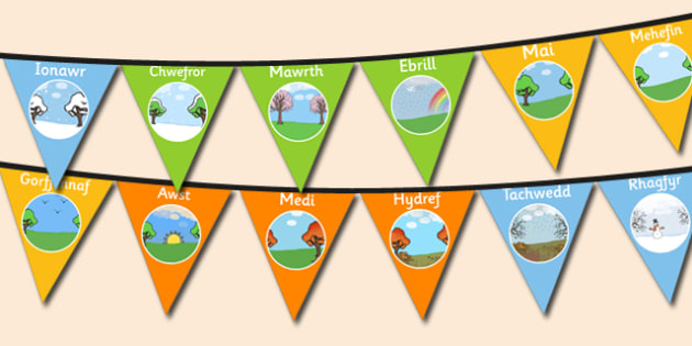 Months of the Year Bunting Welsh - months, year, bunting, welsh