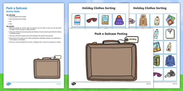Pack a Suitcase Posting Busy Bag Resource Pack for Parents