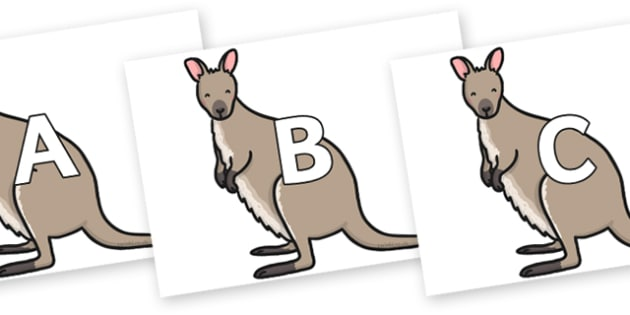 A-Z Alphabet on Wallaby - A-Z, A4, display, Alphabet frieze, Display letters, Letter posters, A-Z letters, Alphabet flashcards