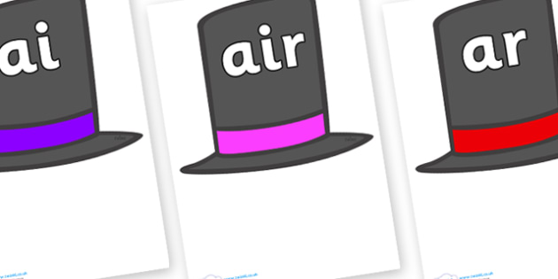 Phase 3 Phonemes on Top Hats - Phonemes, phoneme, Phase 3, Phase three, Foundation, Literacy, Letters and Sounds, DfES, display