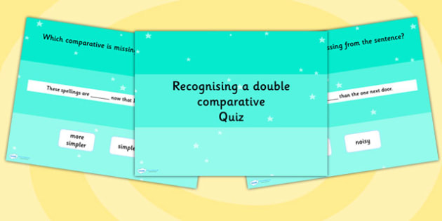 Recognising a Double Comparative SPaG Grammar PowerPoint Quiz
