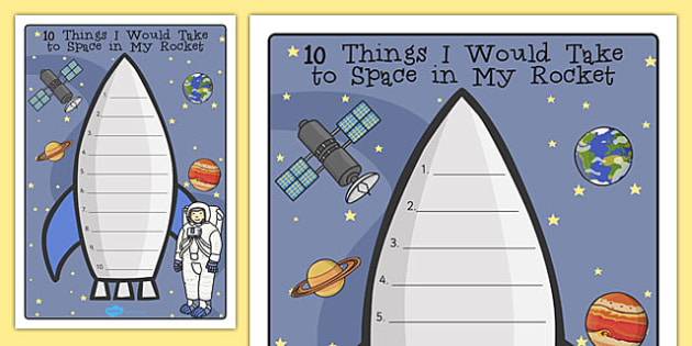 What Would I Take to Space Rocket Writing Frame - space, rocket