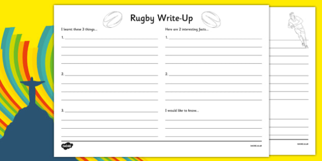 Rio 2016 Olympics Rugby Write Up Activity Sheet - rio olympics, 2016 olympics, rio 2016, rugby, write up, worksheet