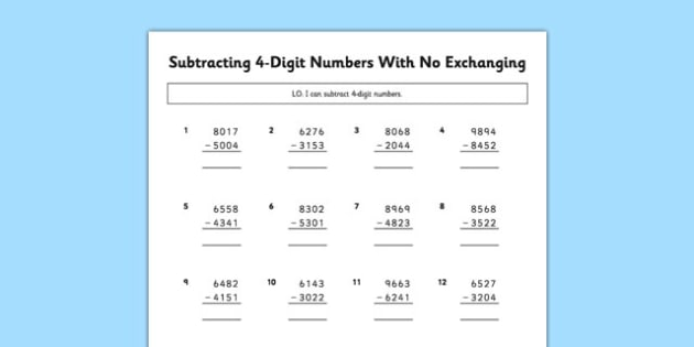Subtracting 4 Digit Numbers With No Exchanging - subtracting, 4 digit, numbers, no exchanging